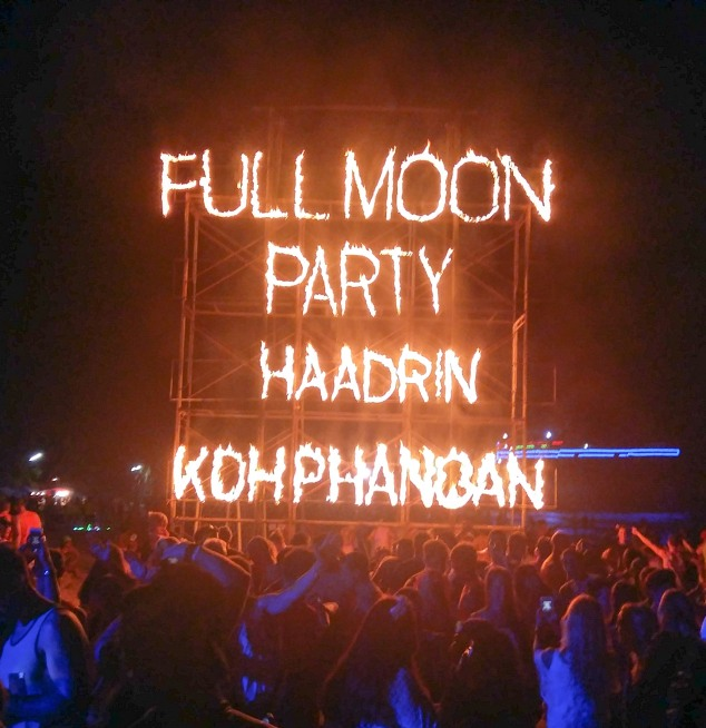 Burning sign Full Moon Party Haadrin Koh Phangan Thailand