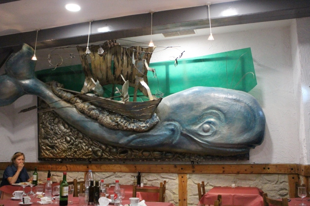 A whale decor at a local restaurant in Bilbao